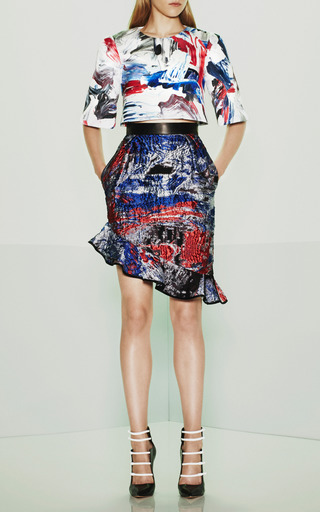 Prabal Gurung - Technical Satin Cropped Half Sleeve Blouse