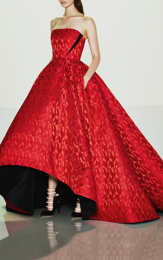 Textured Jacquard Strapless Bustier Gown by Prabal Gurung for Preorder on Moda Operandi