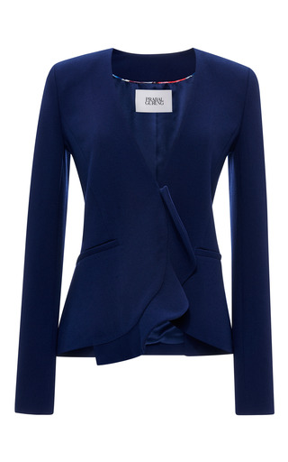 Prabal gurung viscose crepe collarless ruffle hem jacket by PRABAL GURUNG Now Available on Moda Operandi