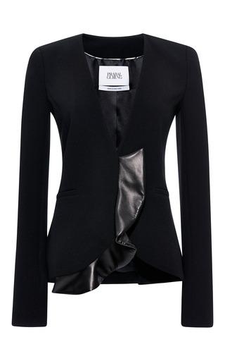 Viscose crepe collarless jacket with leather ruffle hem by PRABAL GURUNG Now Available on Moda Operandi