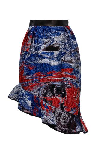 Lurex jacquard asymmetrical tulip skirt by PRABAL GURUNG Preorder Now on Moda Operandi