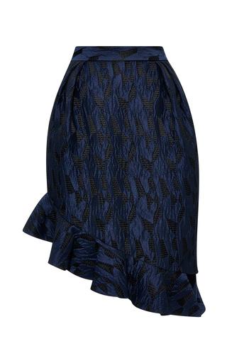 Navy textured jacquard asymmetrical tulip skirt by PRABAL GURUNG Preorder Now on Moda Operandi