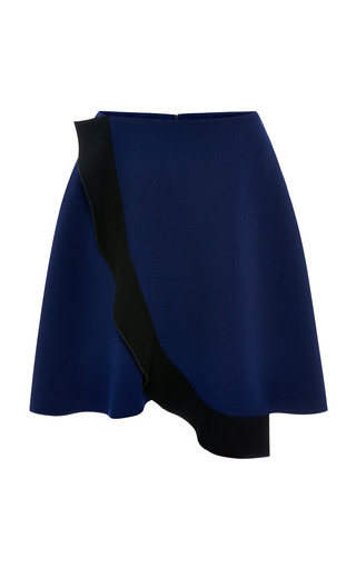 Ink blue crepe wrap front circle skirt by PRABAL GURUNG Now Available on Moda Operandi