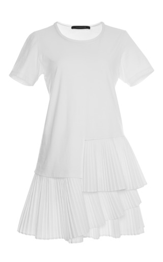 Cotton jersey pleated t-shirt dress by THAKOON Preorder Now on Moda Operandi