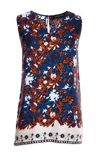 Printed silk twill v-neck tunic by THAKOON Preorder Now on Moda Operandi