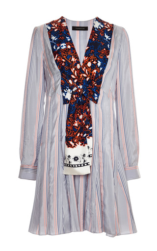 Striped shirting tie front dress by THAKOON Preorder Now on Moda Operandi