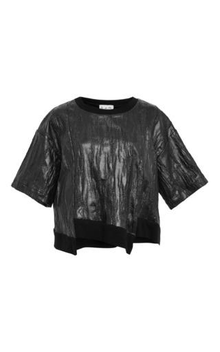 Ridged jersey staggered hem top in black by SEA Preorder Now on Moda Operandi