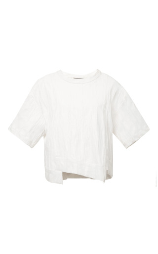 Ridged jersey staggered hem top in white by SEA Preorder Now on Moda Operandi