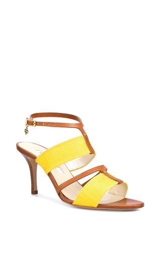 Briani Leather Sandal In Lemon by Oscar de la Renta for Preorder on Moda Operandi