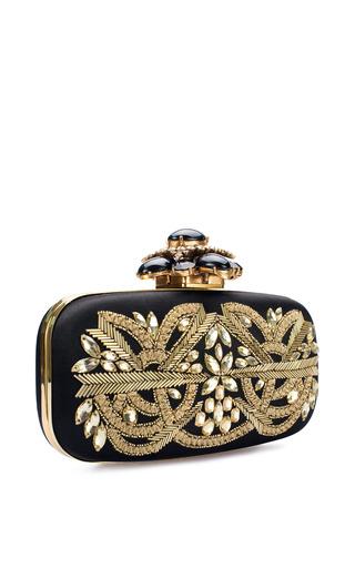 Cabochon Goa Clutch In Black Gold Satin by Oscar de la Renta for Preorder on Moda Operandi