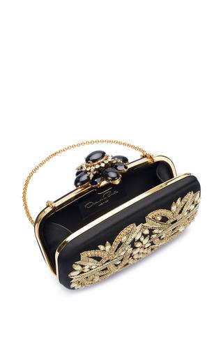 Oscar de la Renta - Cabochon Goa Clutch In Black Gold Satin