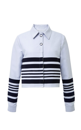 Haf double weave cropped polo jacket in clay grey by OPENING CEREMONY Preorder Now on Moda Operandi