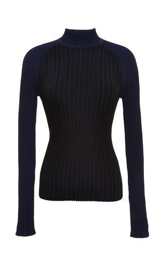 Vert stripe raglan mock neck in eclipse blue by OPENING CEREMONY Preorder Now on Moda Operandi