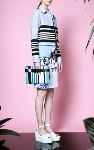 Opening Ceremony - Pelagic Painted Leaves Pencil Skirt