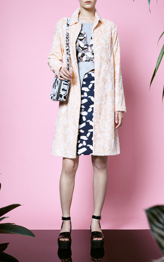 Opening Ceremony - Blush Painted Leaves Pencil Skirt