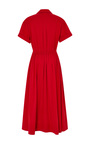 Rosie Assoulin Red Cotton Twill Belted Jane Shirt Dress by Rosie Assoulin for Preorder on Moda Operandi