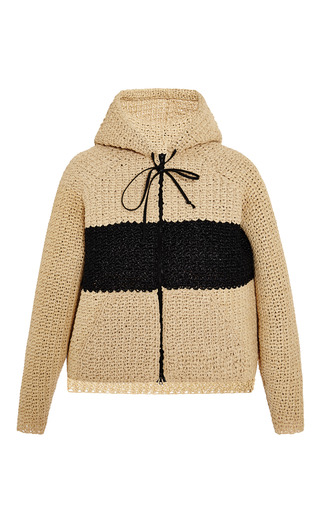 Handmade raffia sweatshirt by ROSIE ASSOULIN Preorder Now on Moda Operandi
