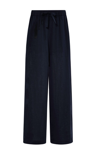 Navy cotton silk double weave drawstring pants by ROSIE ASSOULIN Now Available on Moda Operandi