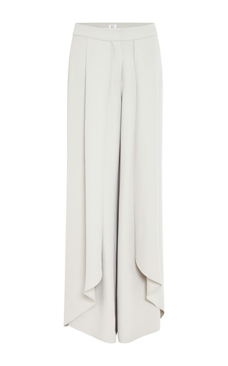 Mist grey crepe wrap pants by ROSIE ASSOULIN Preorder Now on Moda Operandi