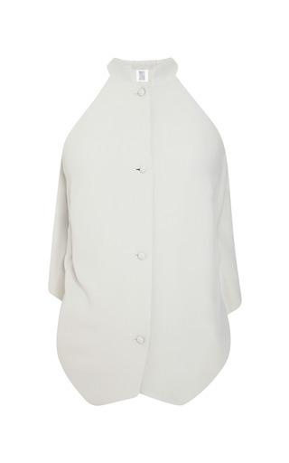 Mist grey ruffle back vest by ROSIE ASSOULIN Preorder Now on Moda Operandi