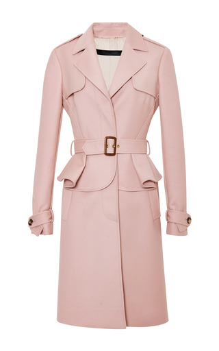 Blush single breasted trench coat by ELIE SAAB Preorder Now on Moda Operandi