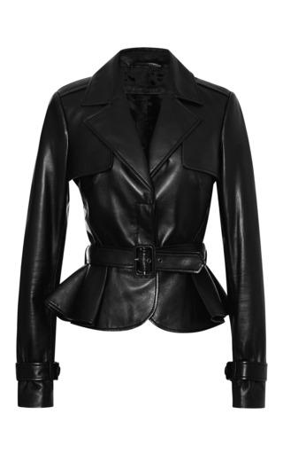 Black peplum leather jacket by ELIE SAAB for Preorder on Moda Operandi