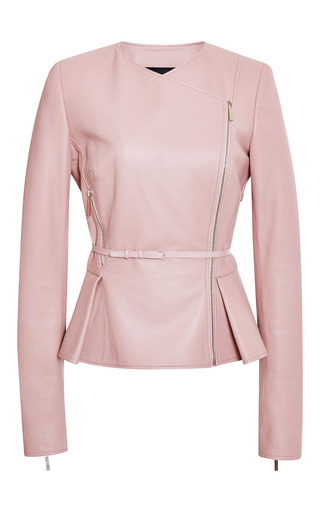 Blush double breasted leather jacket by ELIE SAAB for Preorder on Moda Operandi