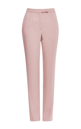 Blush stretch cady slim pant by ELIE SAAB for Preorder on Moda Operandi