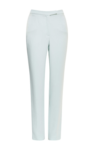 Mint stretch cady slim pant by ELIE SAAB for Preorder on Moda Operandi