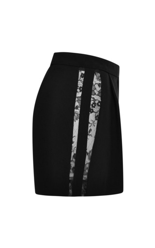 Black Lace Insert Shorts by ELIE SAAB for Preorder on Moda Operandi