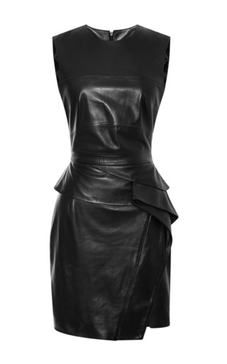 Black sleeveless leather dress by ELIE SAAB for Preorder on Moda Operandi