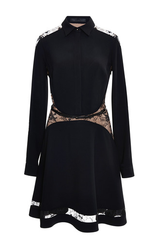 Black lace insert shirt dress by ELIE SAAB Preorder Now on Moda Operandi