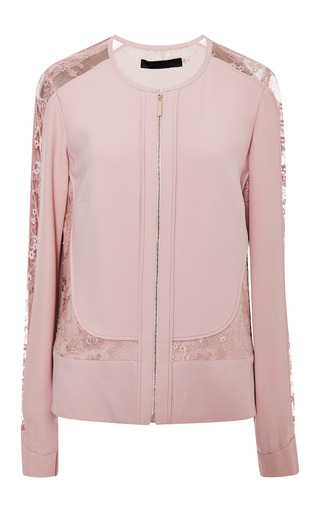 Blush collarless lace insert jacket by ELIE SAAB Preorder Now on Moda Operandi
