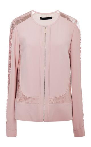 Blush collarless lace insert jacket by ELIE SAAB for Preorder on Moda Operandi