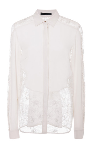 Jasmine silk georgette and lace top by ELIE SAAB for Preorder on Moda Operandi