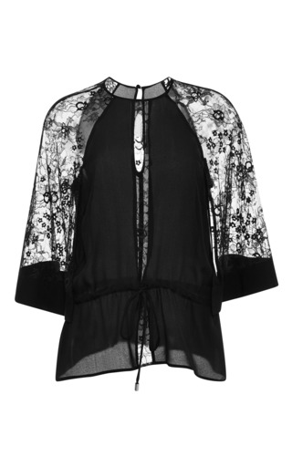 Black lace sleeve tunic by ELIE SAAB Preorder Now on Moda Operandi