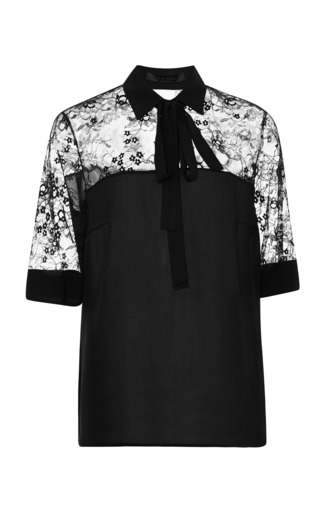 Black top with lace yoke by ELIE SAAB for Preorder on Moda Operandi