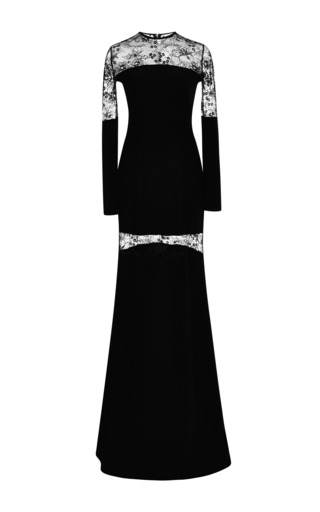 Black lace insert gown by ELIE SAAB for Preorder on Moda Operandi