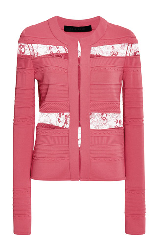 Begonia stripe knit and lace jacket by ELIE SAAB Preorder Now on Moda Operandi