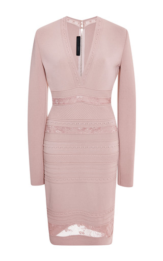 Blush long sleeve stripe banding dress by ELIE SAAB for Preorder on Moda Operandi