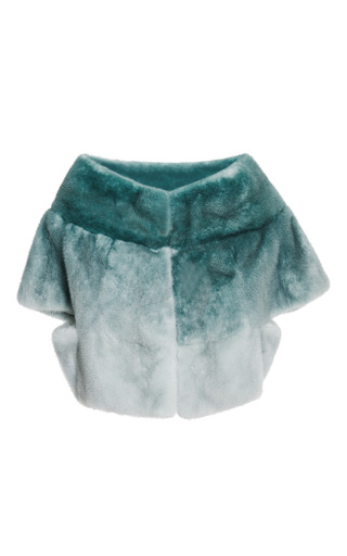 Ombre mint mink jacket by ELIE SAAB for Preorder on Moda Operandi