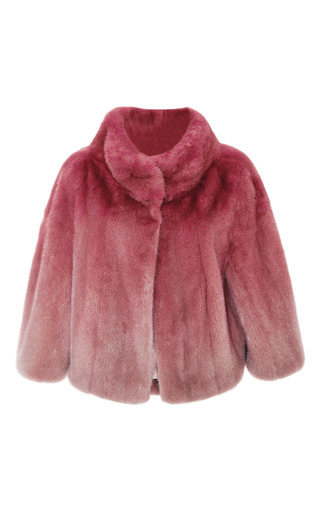 Begonia ombre mink cape jacket by ELIE SAAB Preorder Now on Moda Operandi