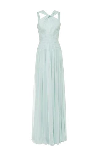 Mint pleated silk georgette gown by ELIE SAAB for Preorder on Moda Operandi