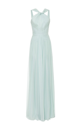 Mint pleated silk georgette gown by ELIE SAAB for Preorder on Moda Operandi