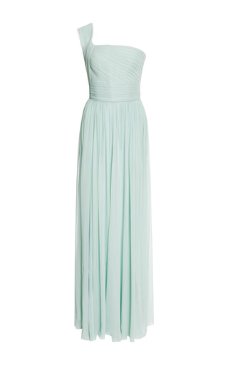 Mint one shoulder silk georgette gown by ELIE SAAB for Preorder on Moda Operandi