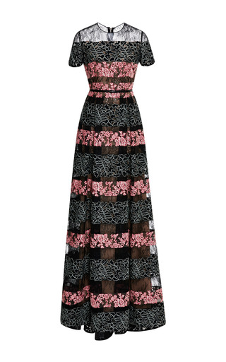 Black and blush lace stripe gown by ELIE SAAB for Preorder on Moda Operandi