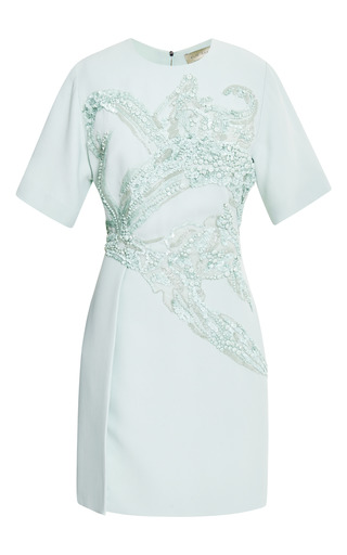 Mint embroidered short sleeve dress by ELIE SAAB Preorder Now on Moda Operandi