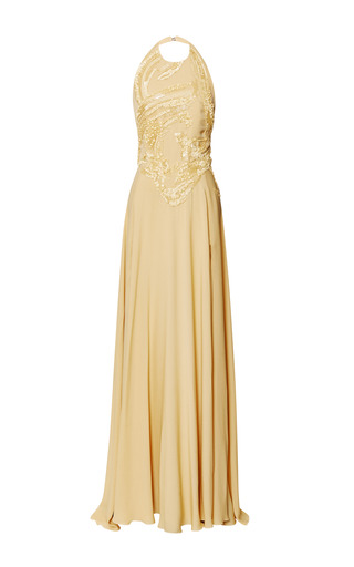 Iris embroidered halter gown by ELIE SAAB for Preorder on Moda Operandi