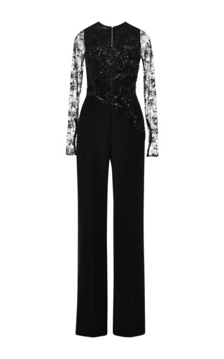Black lace sleeve embroidered jumpsuit by ELIE SAAB for Preorder on Moda Operandi