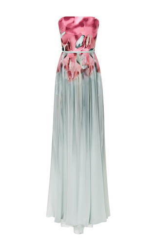 Floral aqua printed strapless gown by ELIE SAAB Preorder Now on Moda Operandi